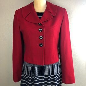 Casual Corner Red Wool Cropped Blazer 6